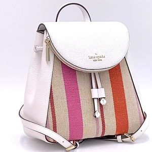KATE SPADE LEILA MD FLAP BACKPACK STRIPED CANVAS